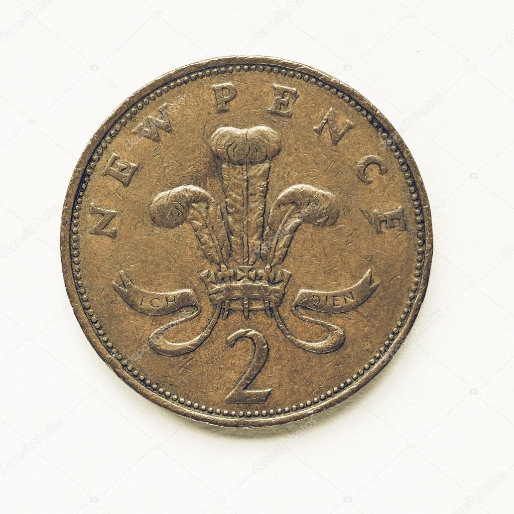 Vintage Uk 2 Pence Münze Stockfoto Claudiodivizia 122907140