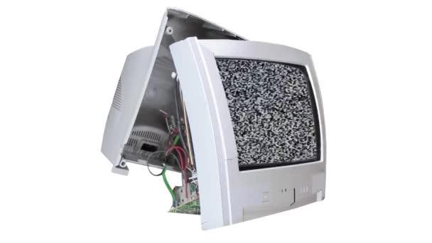 statikus zaj a törött tv elszigetelt fehér