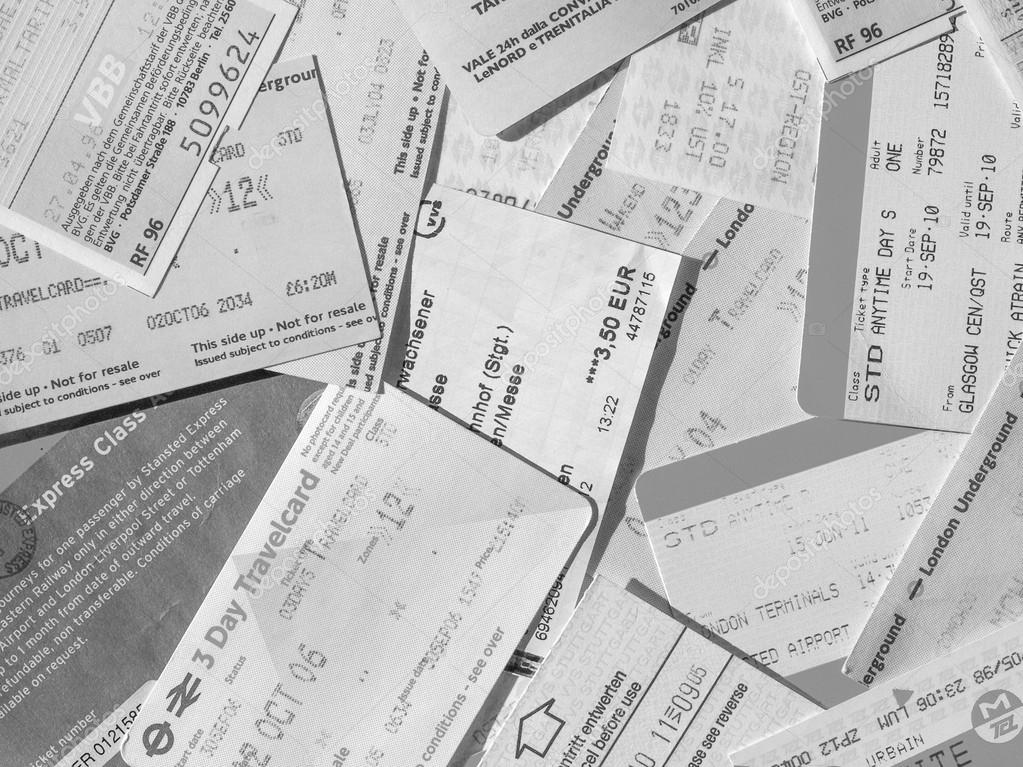 Black and white Public transport tickets