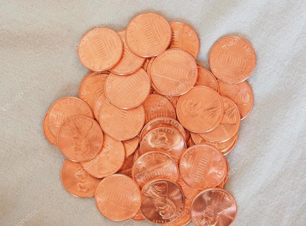 Dollar Münzen 1cent Weizen Cent Cent Stockfoto Claudiodivizia