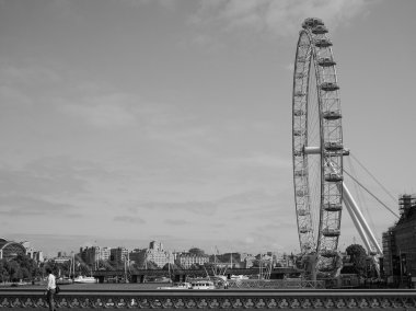 Black and white London Eye in London