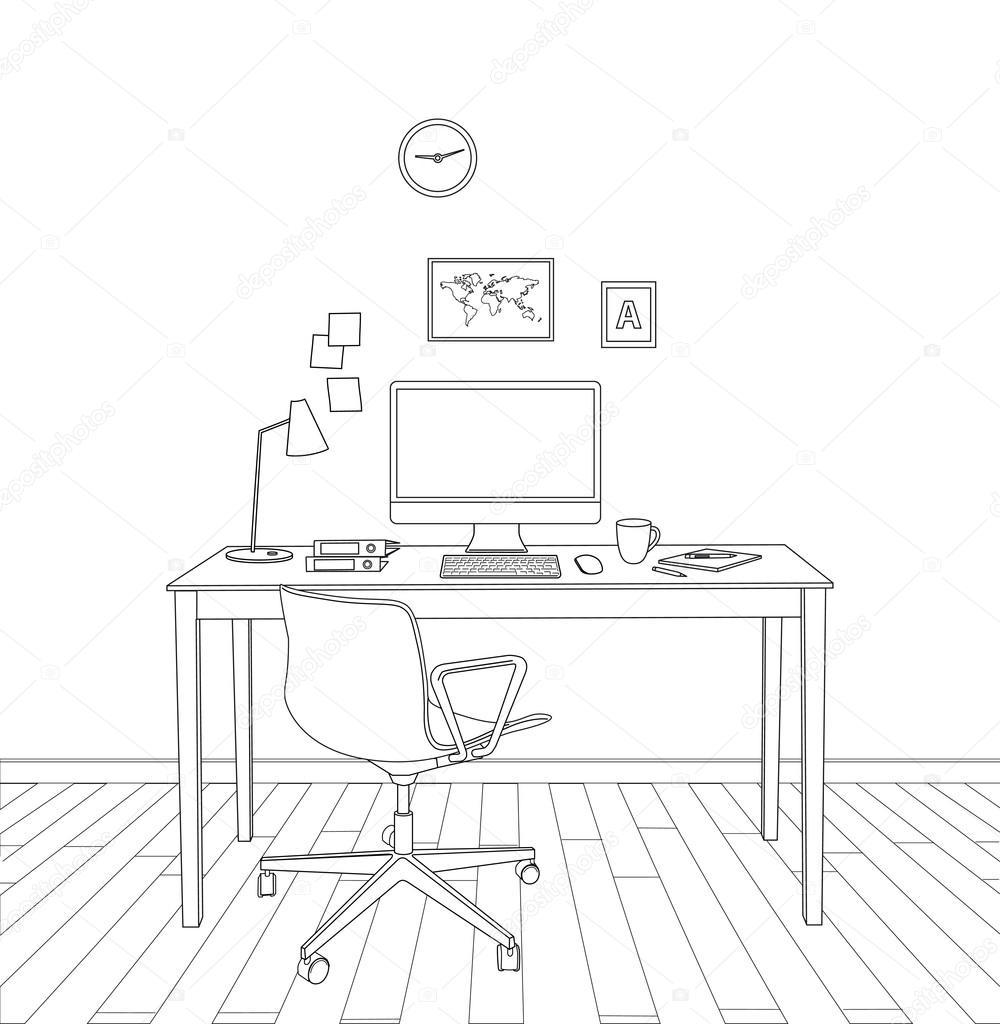 dibujo interior de oficina moderna vector de stock ForDibujo De Una Oficina Moderna