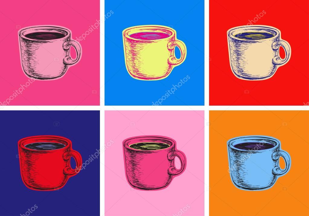 Set Taza De Café Vector Ilustración Estilo Pop Art