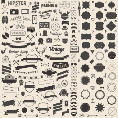 Huge set of vintage styled design hipster icons. Vector signs and symbols templates for your design.The largest set of bicycle, phone, gadgets, sunglasses, mustache, anchor, ribbons infographcs element and other things. stock vector