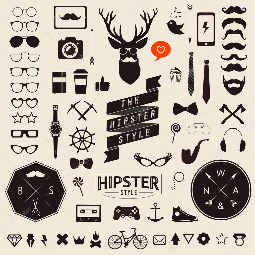 Huge set of vintage styled design hipster icons Vector signs and symbols templates for your design Largest set of phone, gadgets, sunglasses, mustache, ribbons infographcs element and other things.