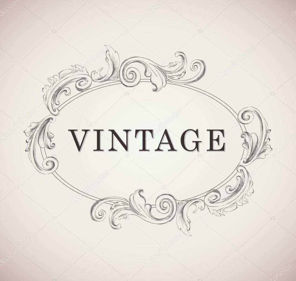Plantilla de marco Vintage Vector ilustración plantilla — Vector de ...