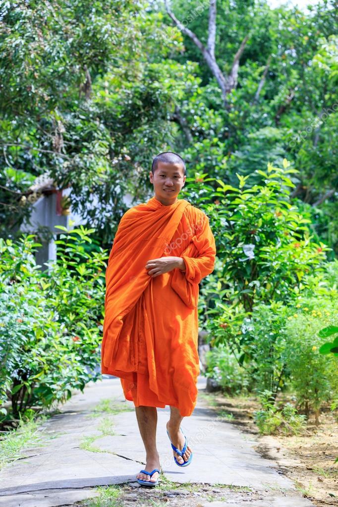 Buddhist Monk Walking To The Camera