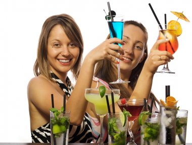 Young girls with cocktails