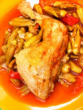 Chicken with okra close-up