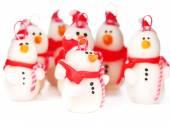 Ručně vyráběné sněhuláci, vánoční ozdoby