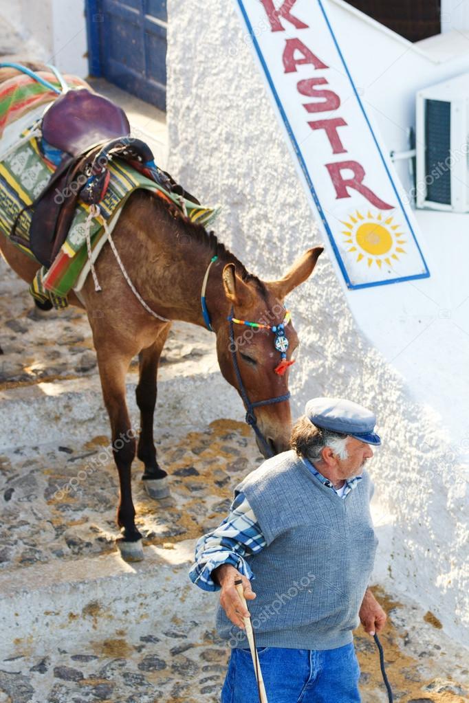 Greek man with donkey