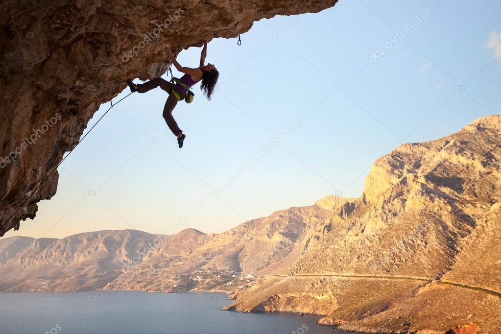 Female Rock Climber Sunset Kalymnos Island Stock Photo
