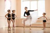 girls at ballet dancing class