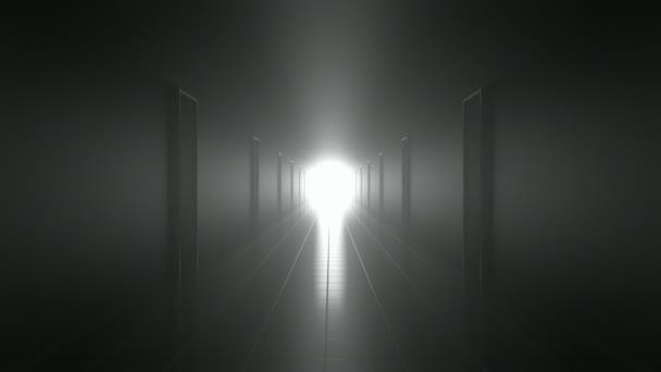 félelmetes, sötét folyosón