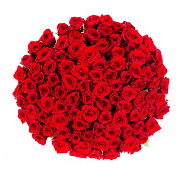 huge bouquet of red roses top view