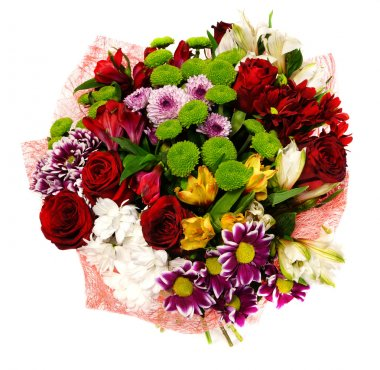 Bouquet of chrysanthemums and red roses