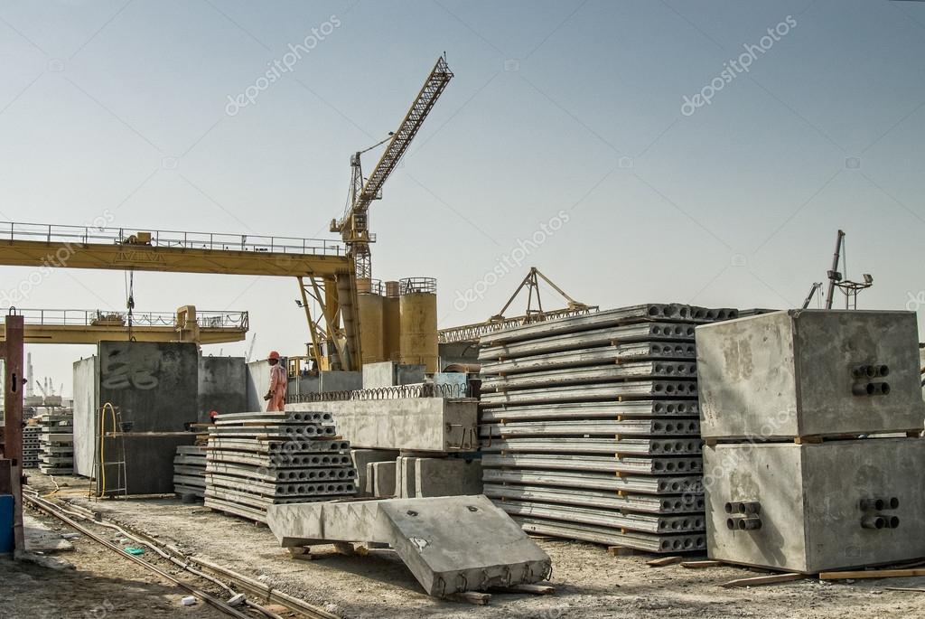 Concrete elements pictured on concrete factory