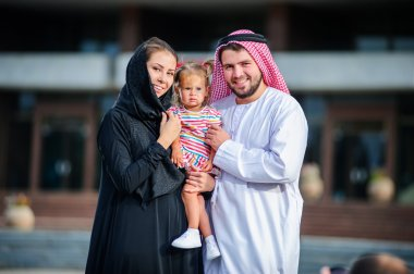 Picture of modern Arabic family.