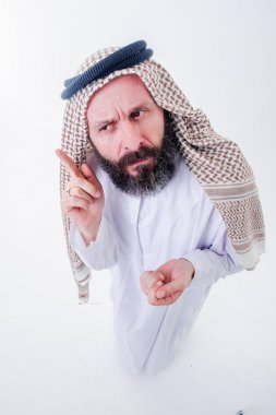 Fanny arabic man poses with emotions.