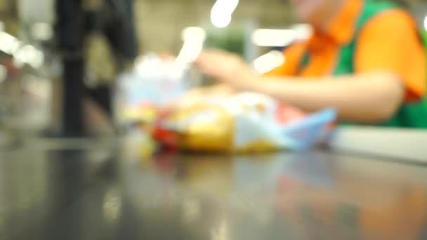 Supermarketu pokladna mělké zaměření video