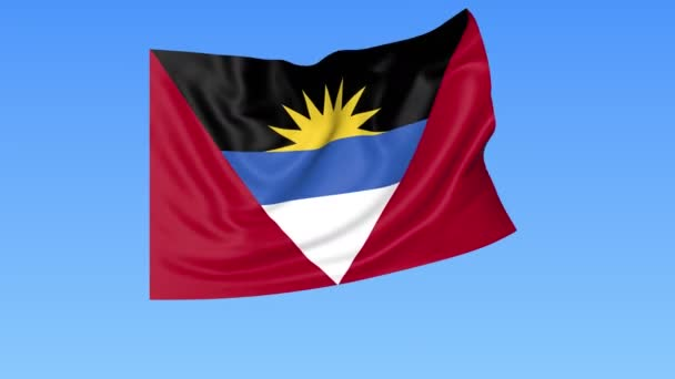Waving flag of Antigua and Barbuda, seamless loop. Exact size, blue background. Part of all countries set. 4K ProRes