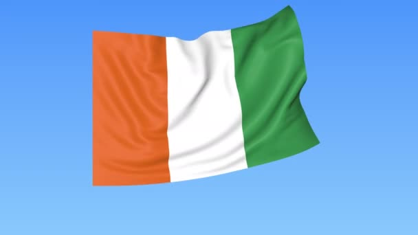Waving flag of Ivory Coast, seamless loop. Exact size, blue background. Part of all countries set. 4K ProRes with alpha.