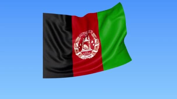 Waving flag of Afghanistan, seamless loop. Exact size, blue background. Part of all countries set. 4K ProRes with alpha
