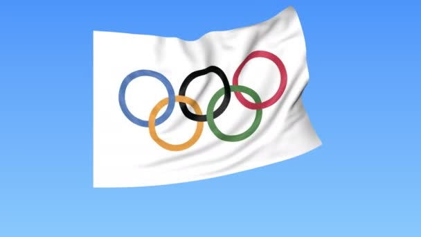 Waving Olympic flag, seamless loop. Exact size, blue background. Part of big flag set. 4K ProRes with alpha