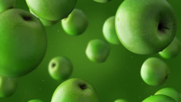 Super slow motion: falling green apples and water drops against green background. High quality 4K seamless loopable CG animation. ProRes 444