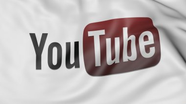 Close up of waving flag with Youtube logo. Editorial CGI