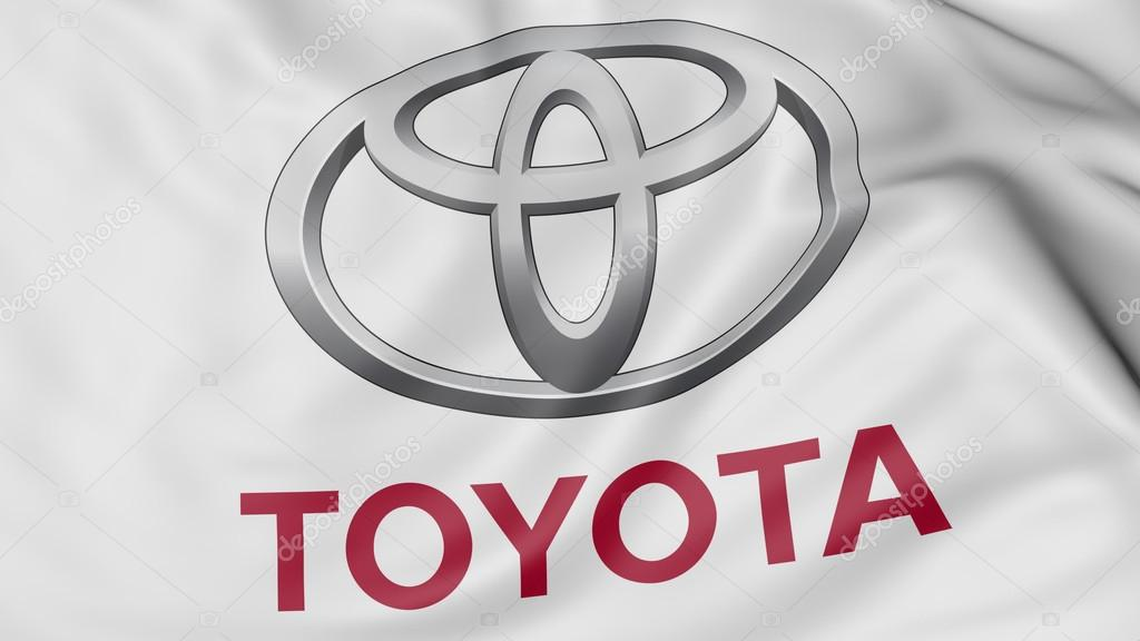 Close up of waving flag with Toyota logo. Editorial CGI