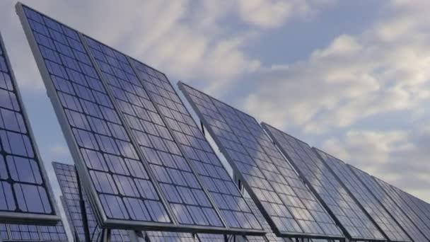 Modern solar panels reflecting cloudy sky. Renewable ecologic energy generation, 4K loop able clip