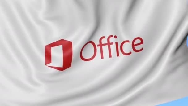 Detailní záběr mávání vlajky s logem Microsoft Office, bezešvé smyčka, modré pozadí. Redakční animace. 4 k Prores, alfa