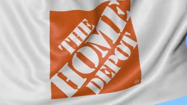 Close up of waving flag with The Home Depot logo, seamless loop, blue  background  Editorial animation  4K ProRes, alpha