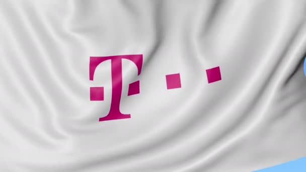 Close Up Of Waving Flag With T Mobile Logo Seamless Loop Blue
