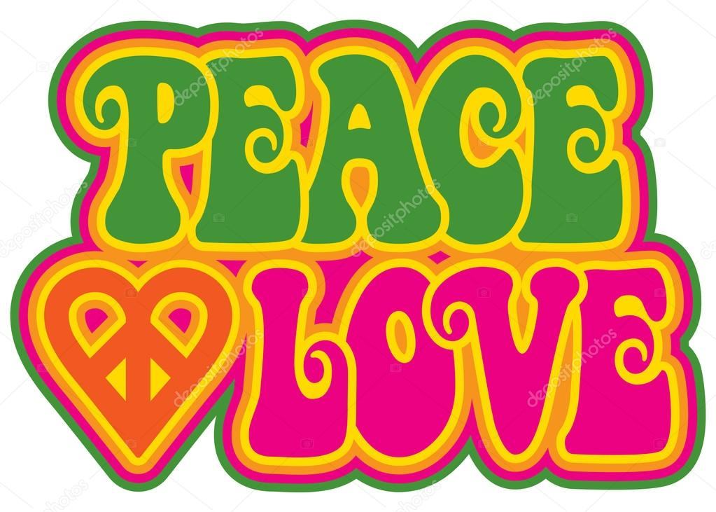 Peace And Love In Green And Pink Stock Vector Lisann 97616198