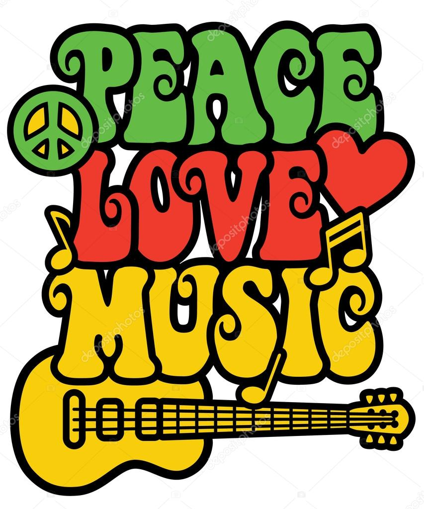 Peace Love Music In Rasta Colors Stock Vector Lisann 97616200