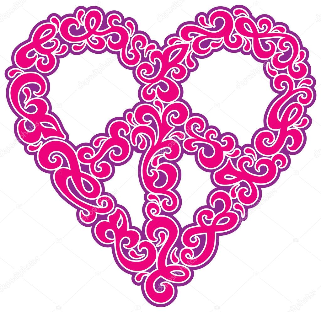 Swirly Peace Heart In Pink Stock Vector Lisann 97618430