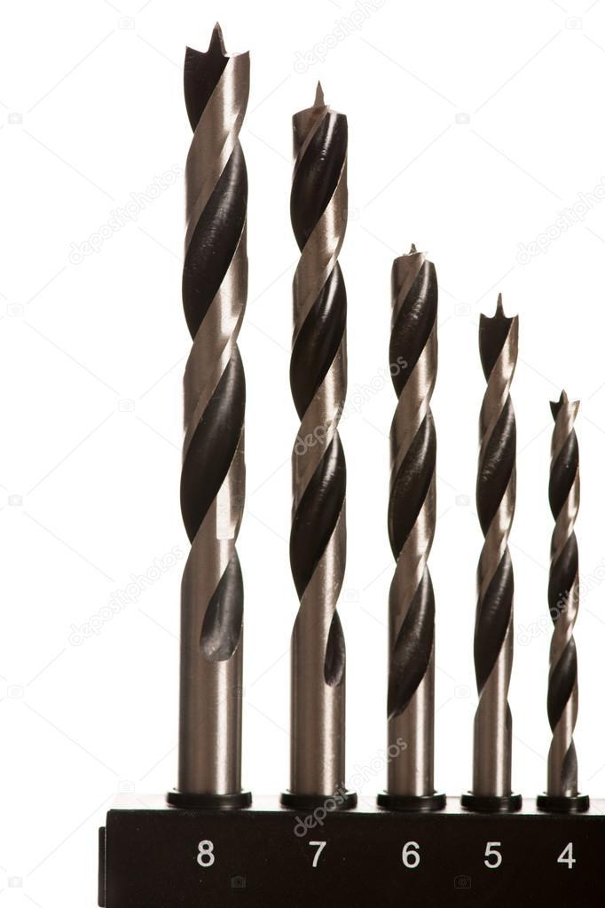 Imagen macro de las brocas para madera de diferentes tamaños — Fotos ...