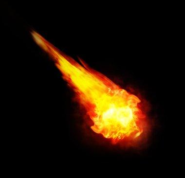 ball of fire (fireball) on black background