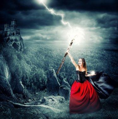 Halloween witch making magic