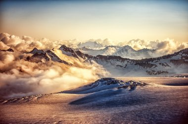mountain ridge of Western Caucasus at sunset or sunrise