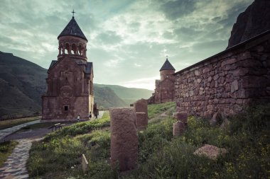 Ancient monastery Noravank in the mountains in Amaghu valley, Ar