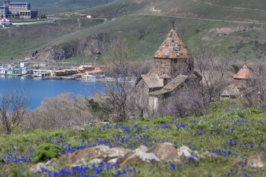 The 9th century Armenian monastery of Sevanavank at lake Sevan.