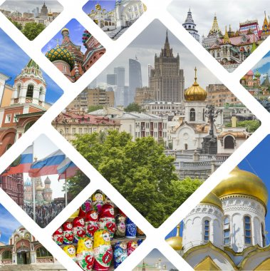 Collage of Moscow (Russia) images - travel background (my photos