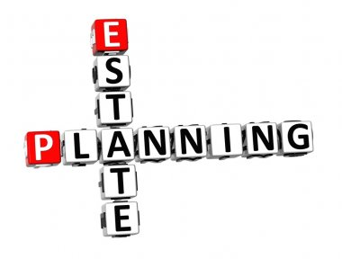 3D Crossword Estate Planning on white background