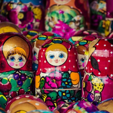 Colorful Russian nesting dolls matreshka at the market. Matriosh