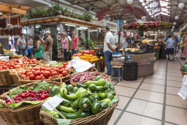 Fresh exotic fruits in Mercado Dos Lavradores. Funchal, Madeira,
