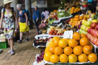 Fresh exotic fruits in Mercado Dos Lavradores. Funchal, Madeira