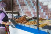 Dry fruits and spices like cashews, raisins, cloves, anise, etc.